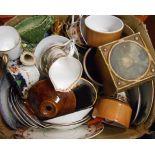 A box containing assorted ceramics including teaware, etc.