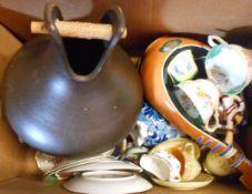 A box containing assorted china including Grand Staffordshire Paragon, etc.