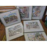 Jill Walker: six framed titled coloured prints, depicting various scenes in Barbados