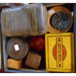 A leather clad box, Bakelite tobacco jar, two tins and various small boxes