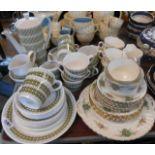A vintage Royal Tuscan bone china Cadenza pattern part tea set including five trios, milk jug, bread