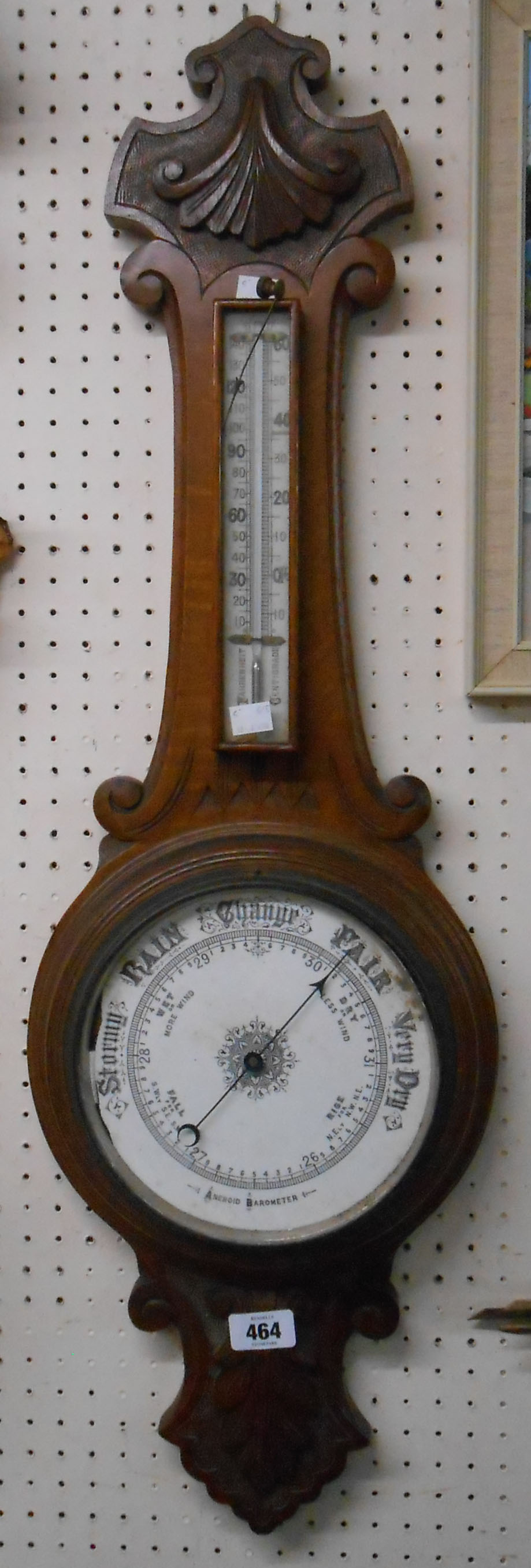 A late Victorian stained and carved oak banjo barometer/thermometer a/f