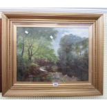 †E. Dunn: a gilt framed oil on canvas under glass entitled A Quiet Bend on the Rive Aire, Shipley on