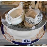 Four pieces of Wedgwood bone china - sold with a Hampton pottery plate