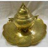 A 19th Century French brass inkwell in the Chinese style marked to the base Marquet Rue de la Paux
