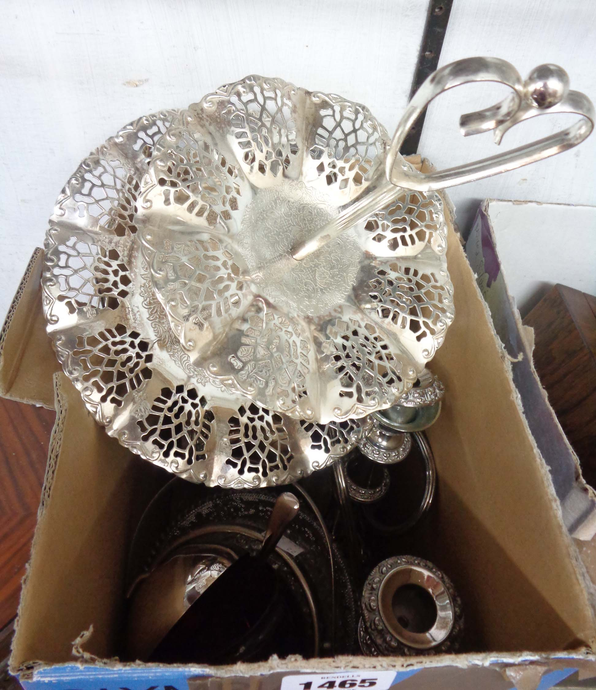 A box containing a quantity of modern silver plated items including cake stand, candelabrum and