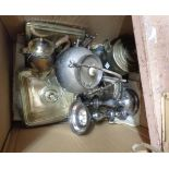 A quantity of silver plated items including a spherical spirit tea kettle, pair of candlesticks,