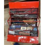 A duplex tool box containing assorted tools including spanners, hammers, etc. - sold with a cased