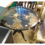A 76cm diameter late Chinese lacquered tilt-top pedestal table with decoration featuring an Immortal