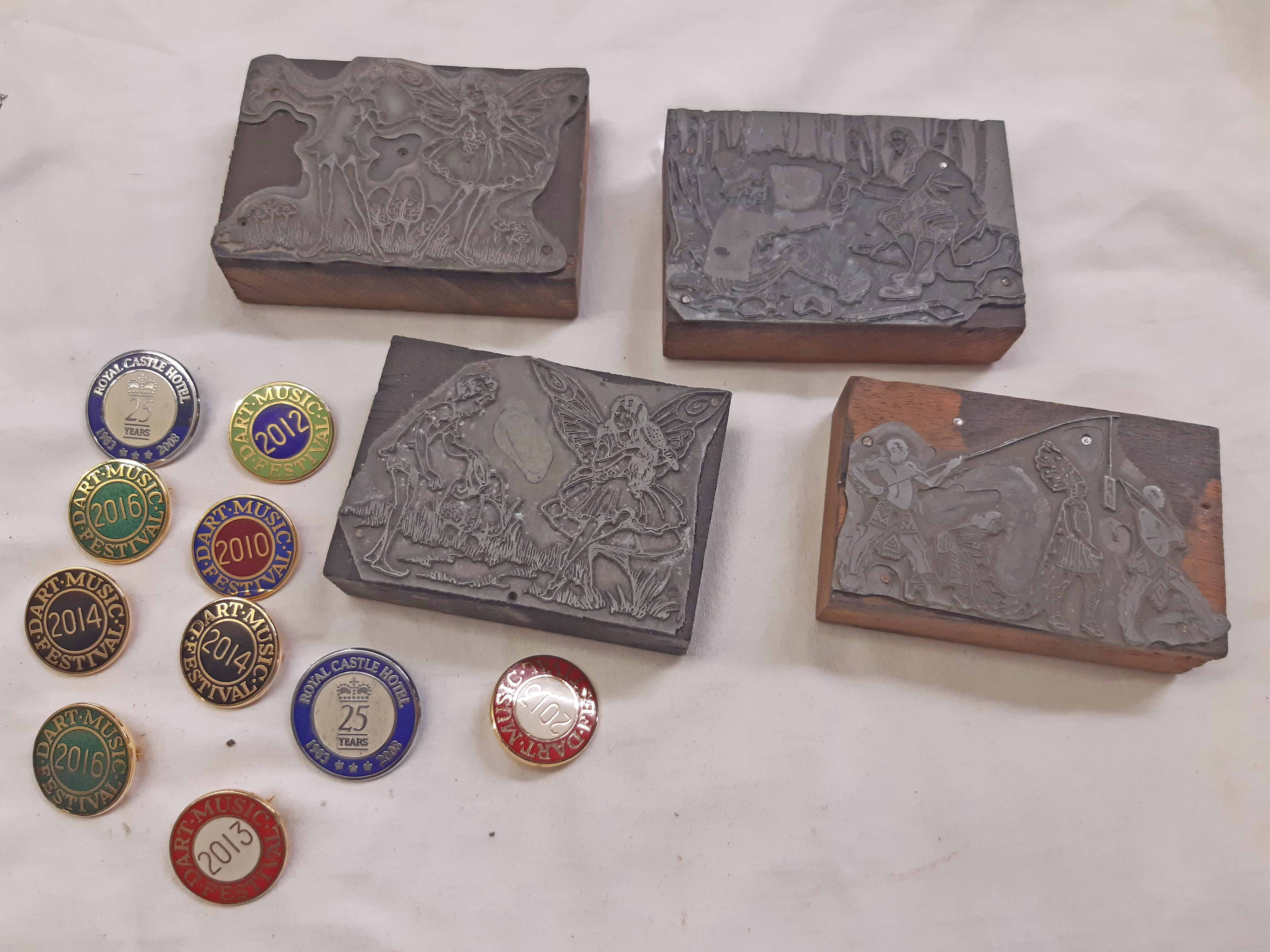 Four vintage ink printing blocks depicting children's story scenes - sold with a bag of Dart Music