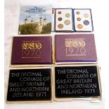 Two Royal Mint Numismatic Eureau 1970 decimal coinage proof sets in original sleeves - sold with two