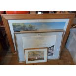 Four framed coastal view coloured prints including Brian Hayes: Beach at Shaldon - sold with a