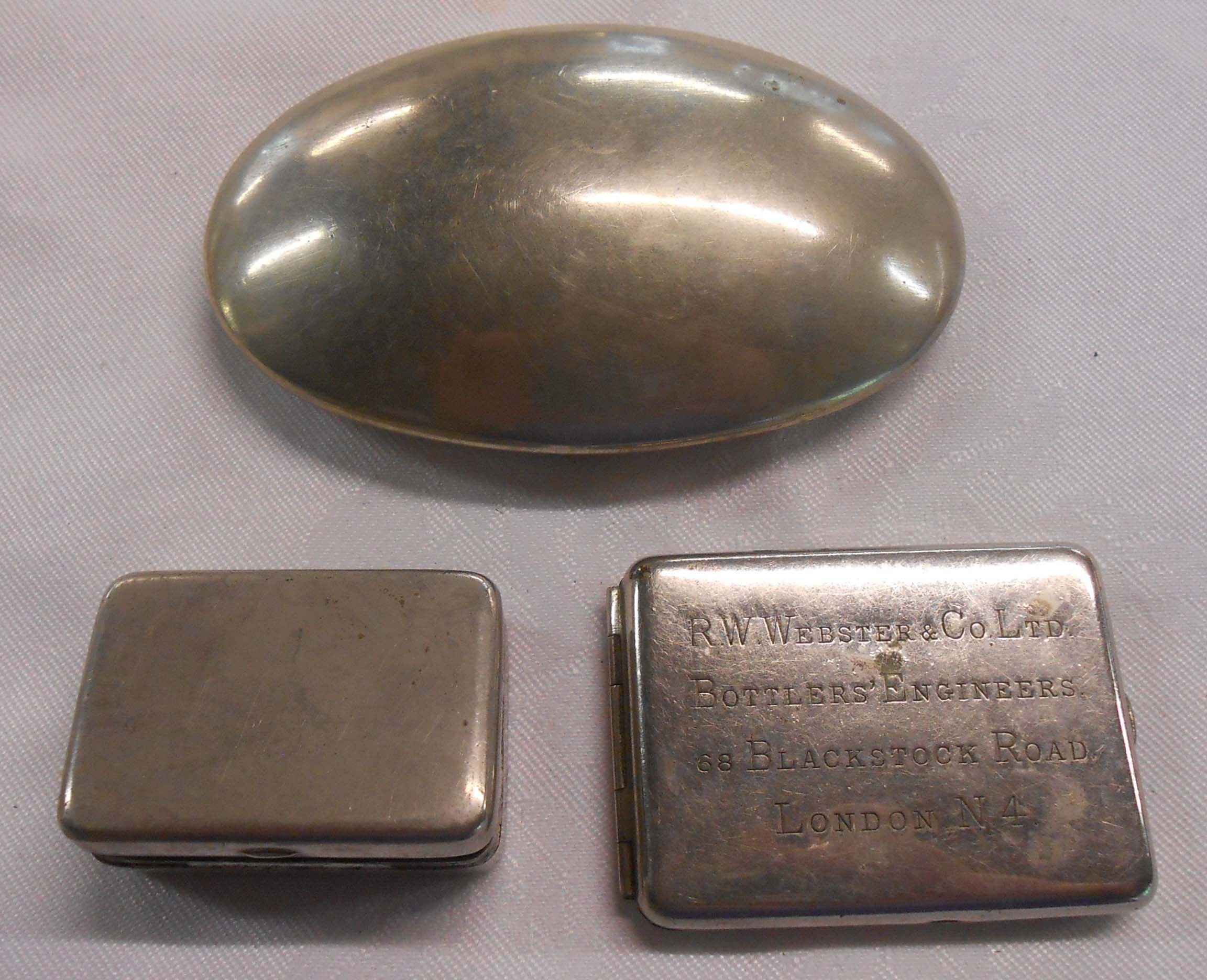 A silver plated tobacco box with match strike - sold with a chrome plated vesta advertising RW