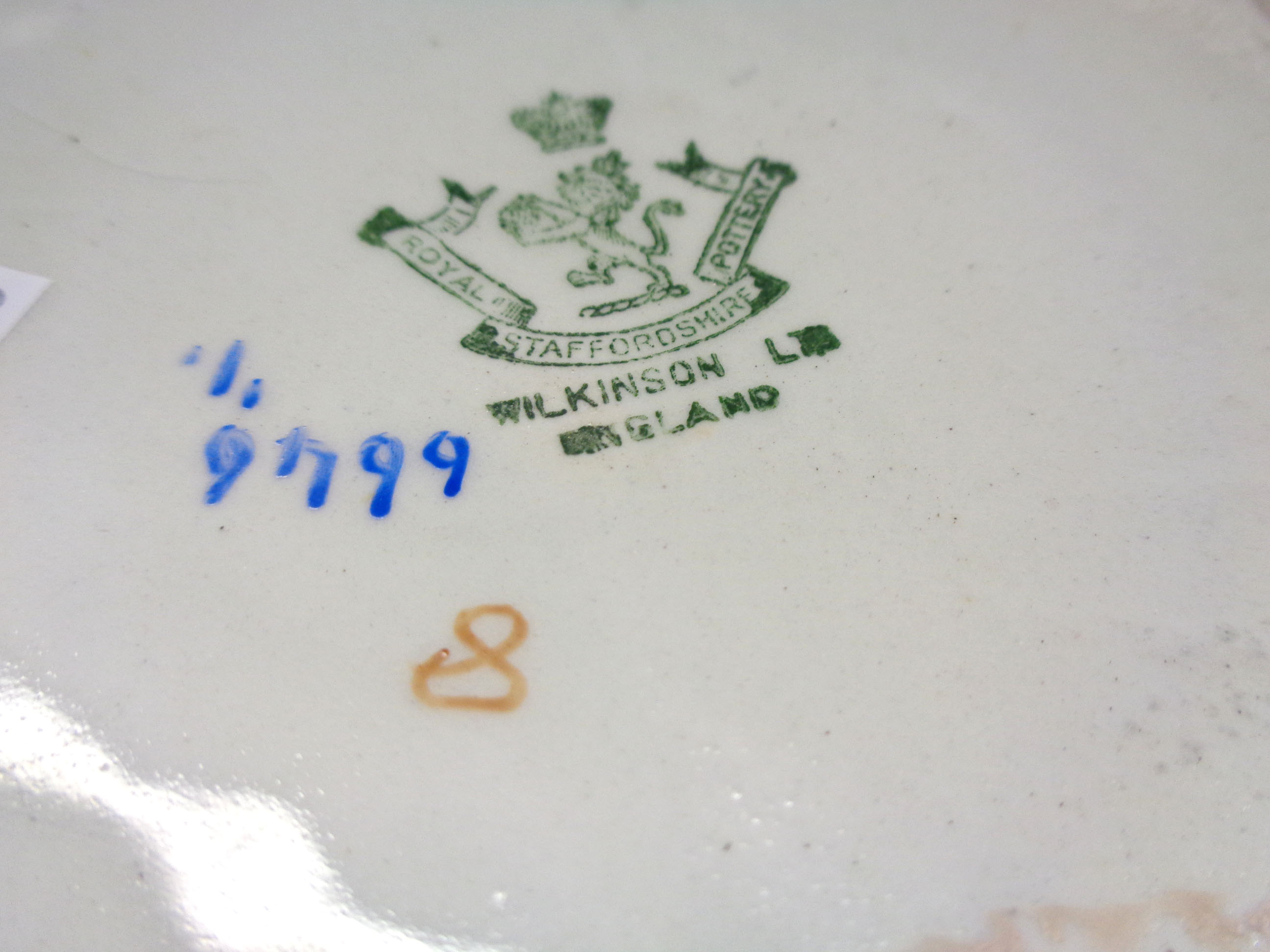A large Art Deco Wilkinsons pottery jug decorated with a trellis frieze and freeform swagging - Image 2 of 2