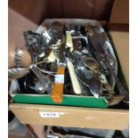 A box containing a quantity of silver plated and other cutlery
