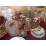 A small quantity of glassware including cut glass spirit decanter, 19th Century pedestal form jug,