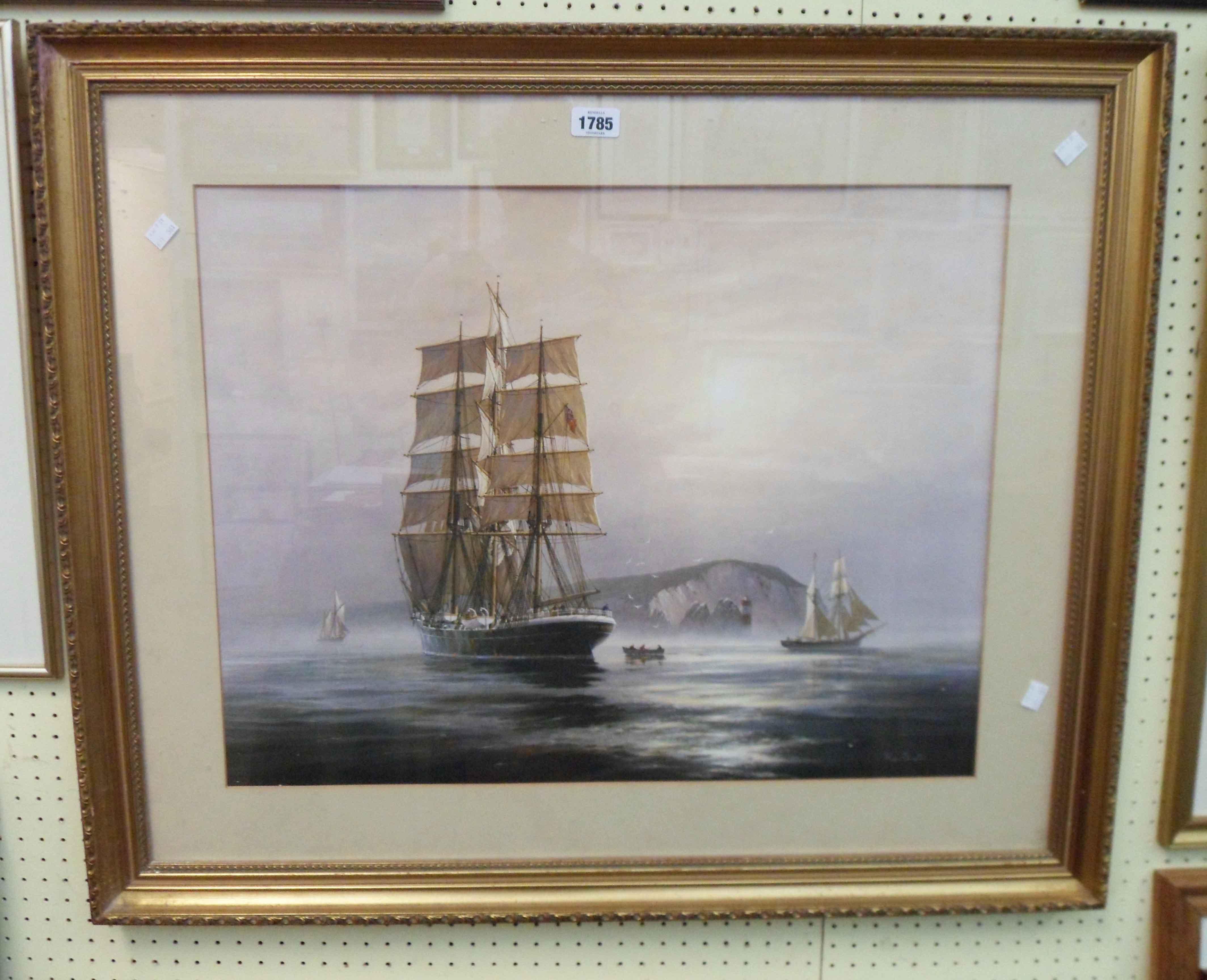 Roger Desoutter: a gilt framed large format coloured print, depicting sailing vessels and a rowing