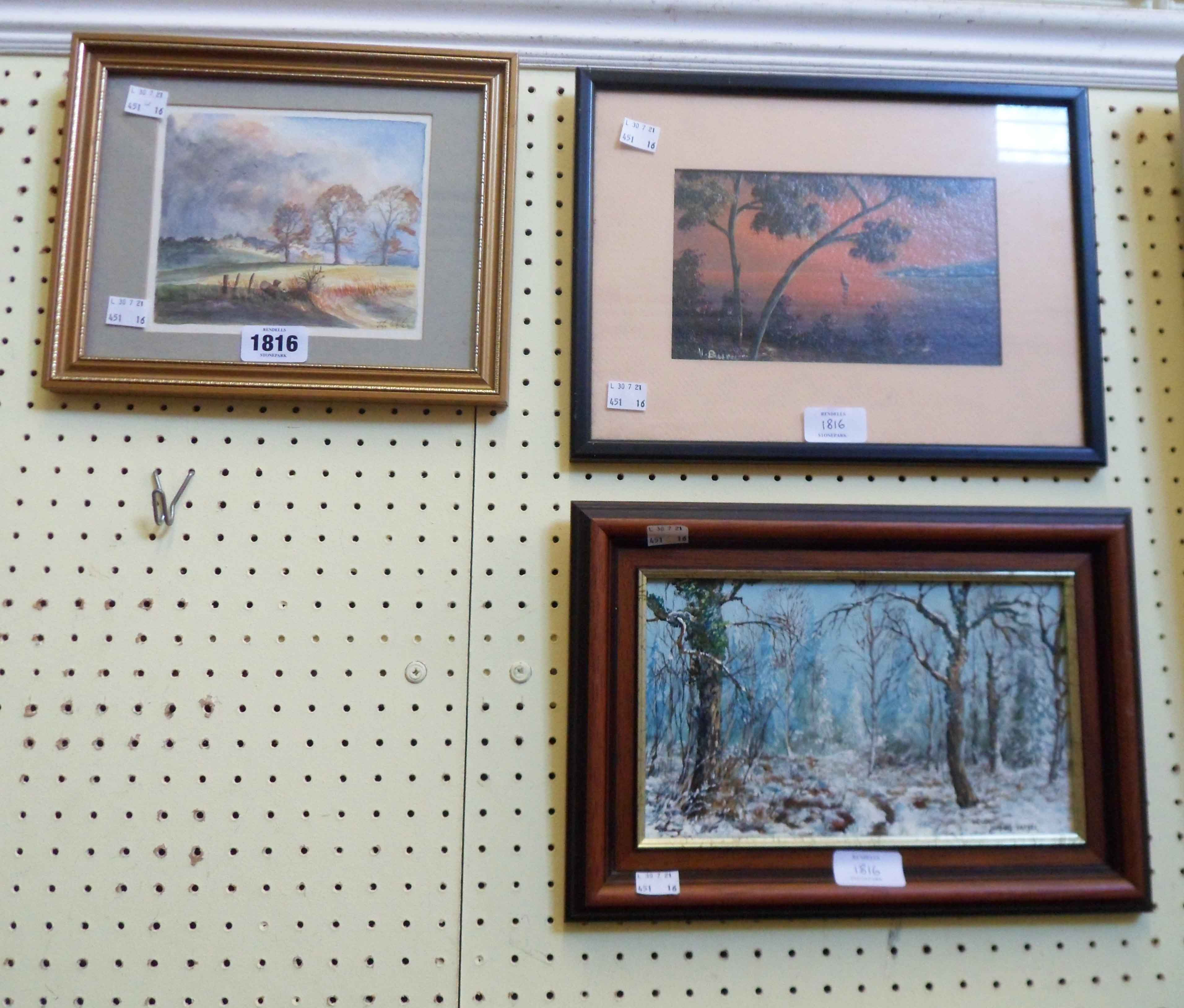 Three framed original paintings comprising John White small watercolour landscape, oil on card