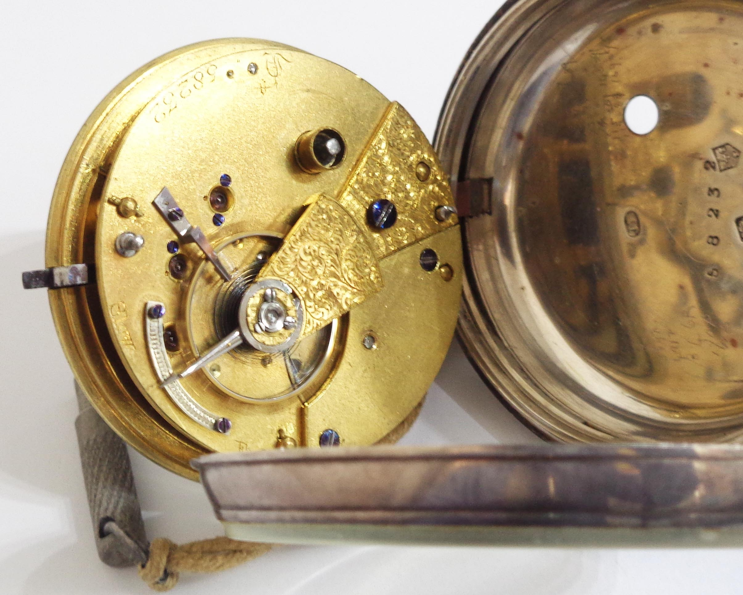 A silver cased pocket watch with fusee movement - Chester 1870's - Image 3 of 5