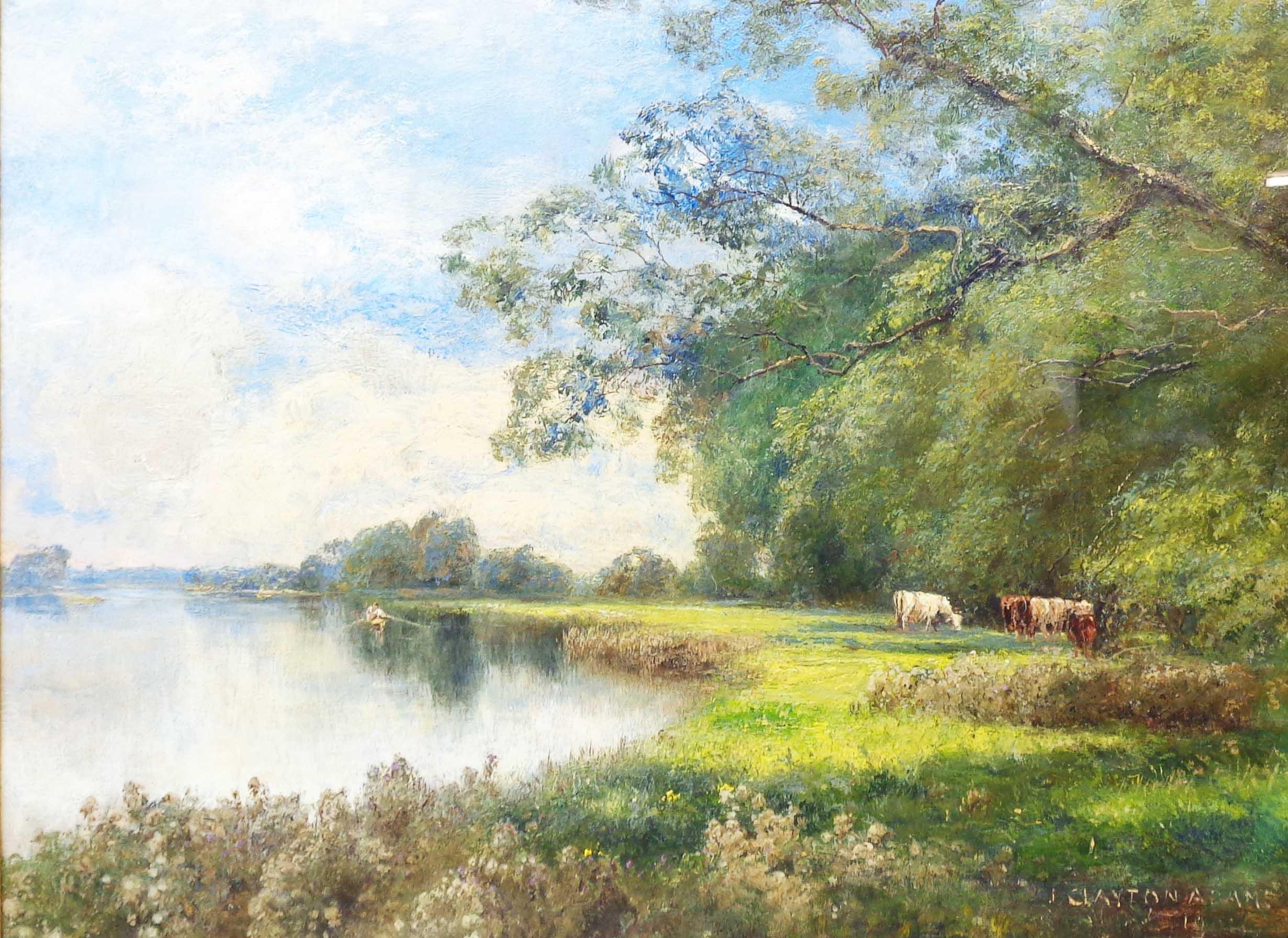 John Clayton Adams: an ornate gilt gesso framed oil on canvas under glass, depicting cattle