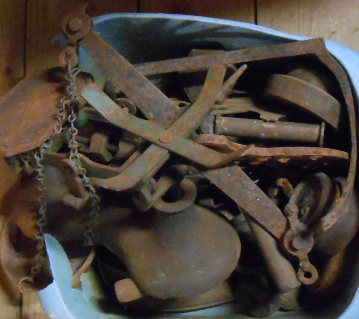 Various scales, weights, trivet and flat iron, etc.