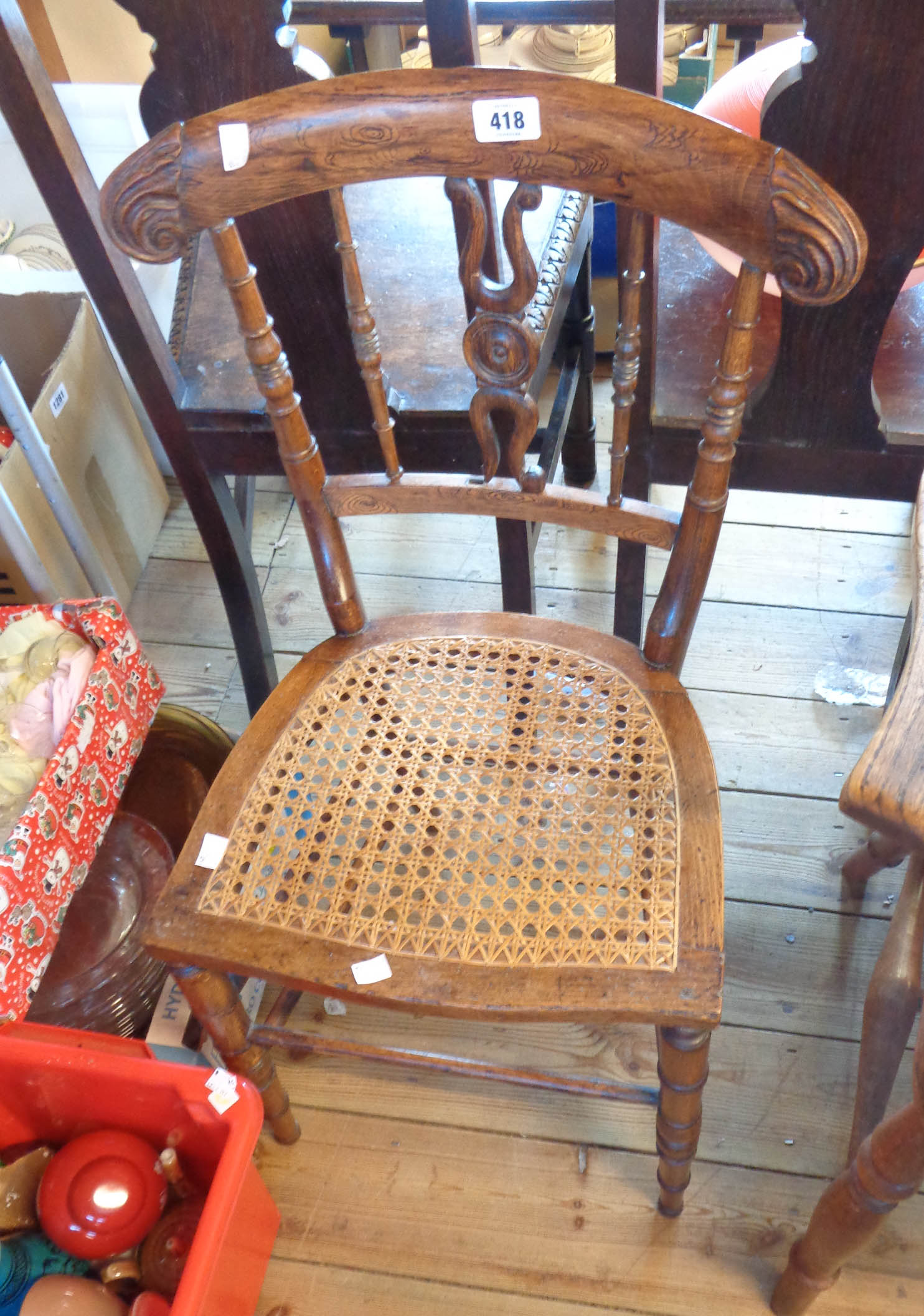 A 19th Century simulated rosewood bedroom chair with rattan seat panel - splat a/f