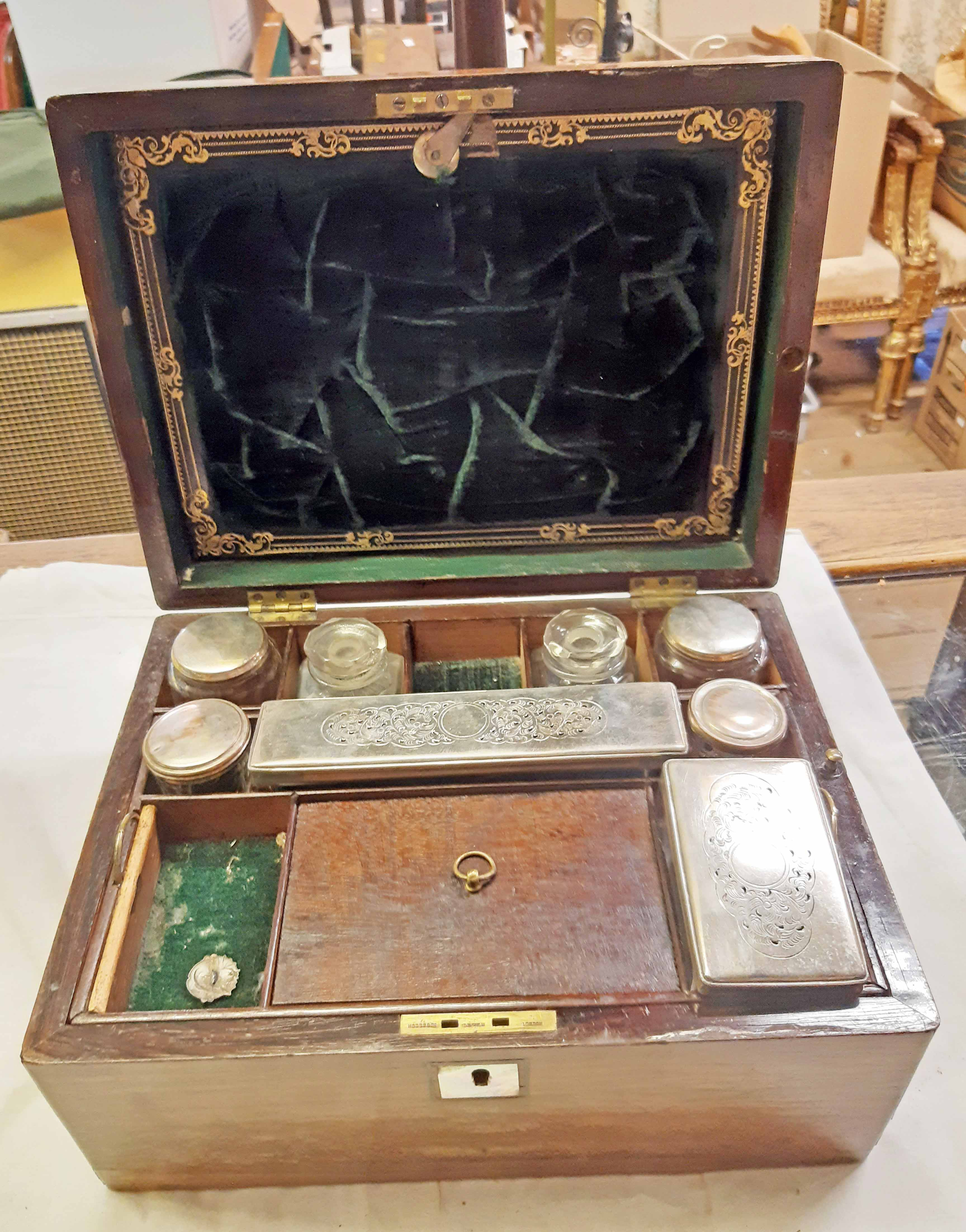 A Victorian rosewood veneered travelling vanity box, the interior fitted with glass jars and boxes - Image 2 of 5