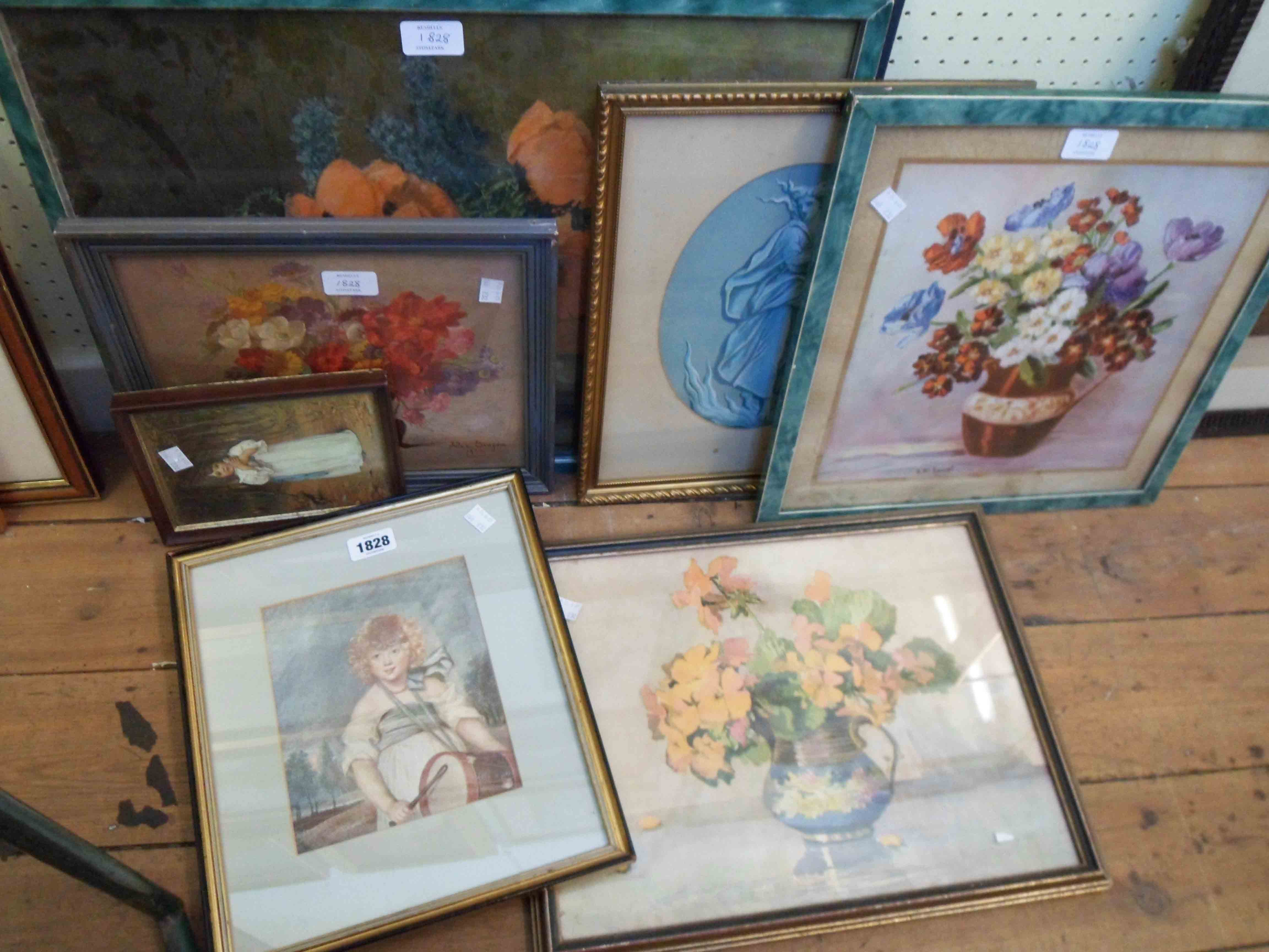 A selection of framed coloured prints including vintage floral studies and portrait of a boy playing