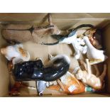 A box containing assorted animal figurines including Beswick, SylvaC, etc. - various condition
