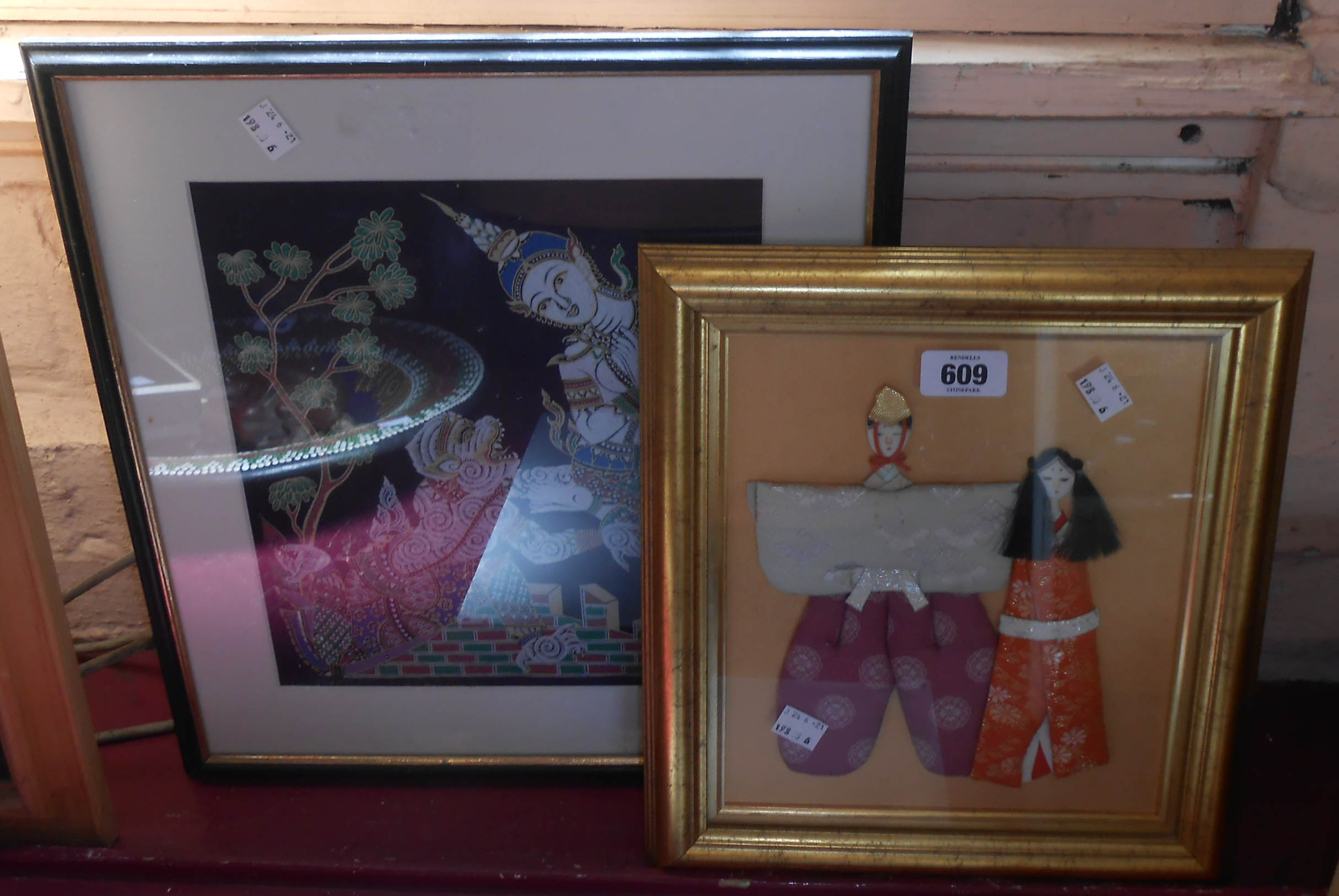 An Oriental silk picture - sold with a Japanese embroidered fashion picture
