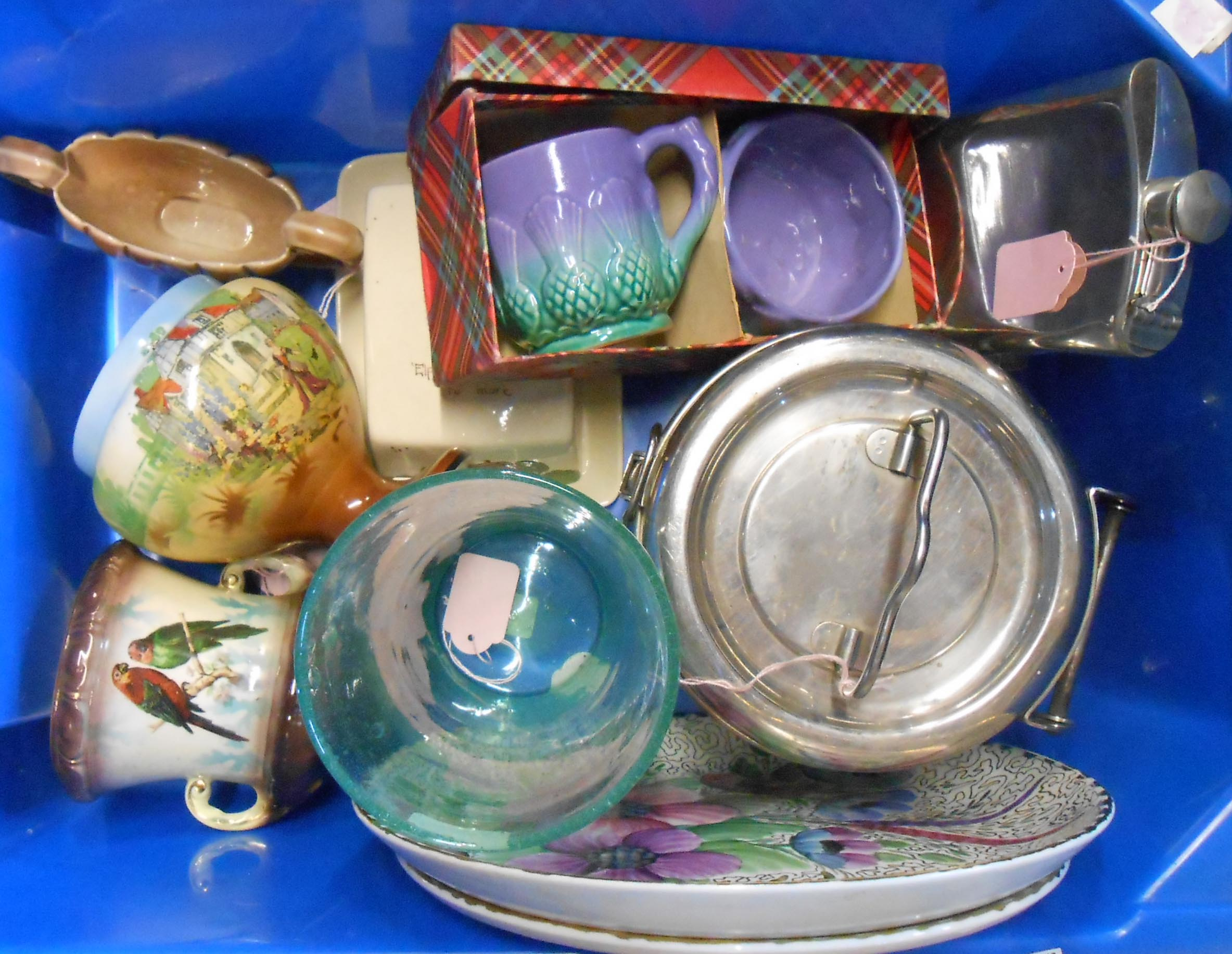 A box containing assorted ceramics, glass and collectable items