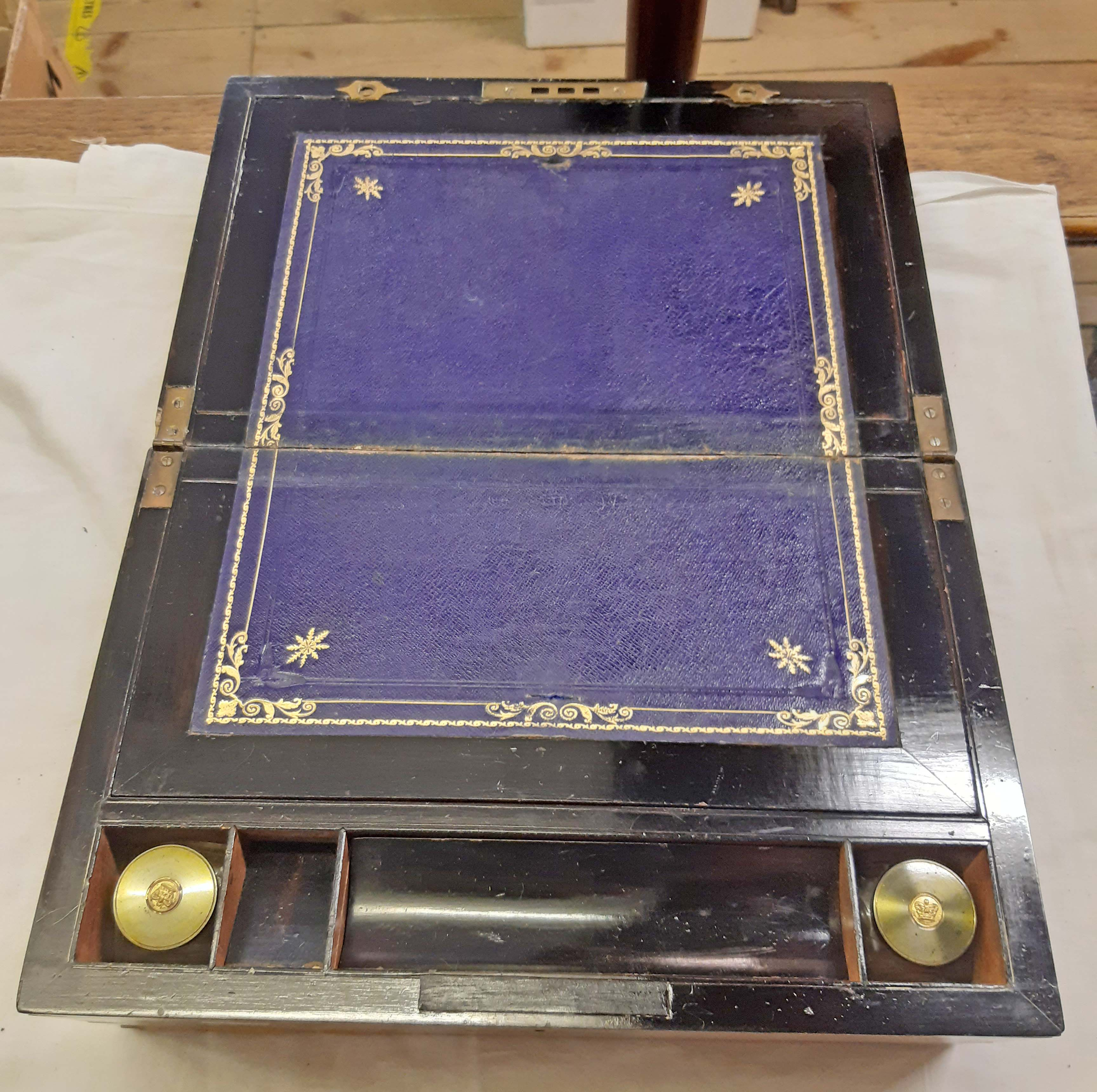 A Victorian burr walnut veneered writing slope with fitted interior and inkwells - Image 2 of 2
