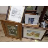 A quantity of decorative small format prints including landscapes, figures and floral images -