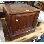 A Victorian mahogany box commode with lidded china liner