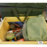 A crate containing fishing accessories, folding stool and Wychwood trout bag