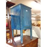 A 35cm painted wood pot cupboard, set on square legs