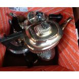A late Victorian silver plated coffee pot - sold with three teapots of varying design and age