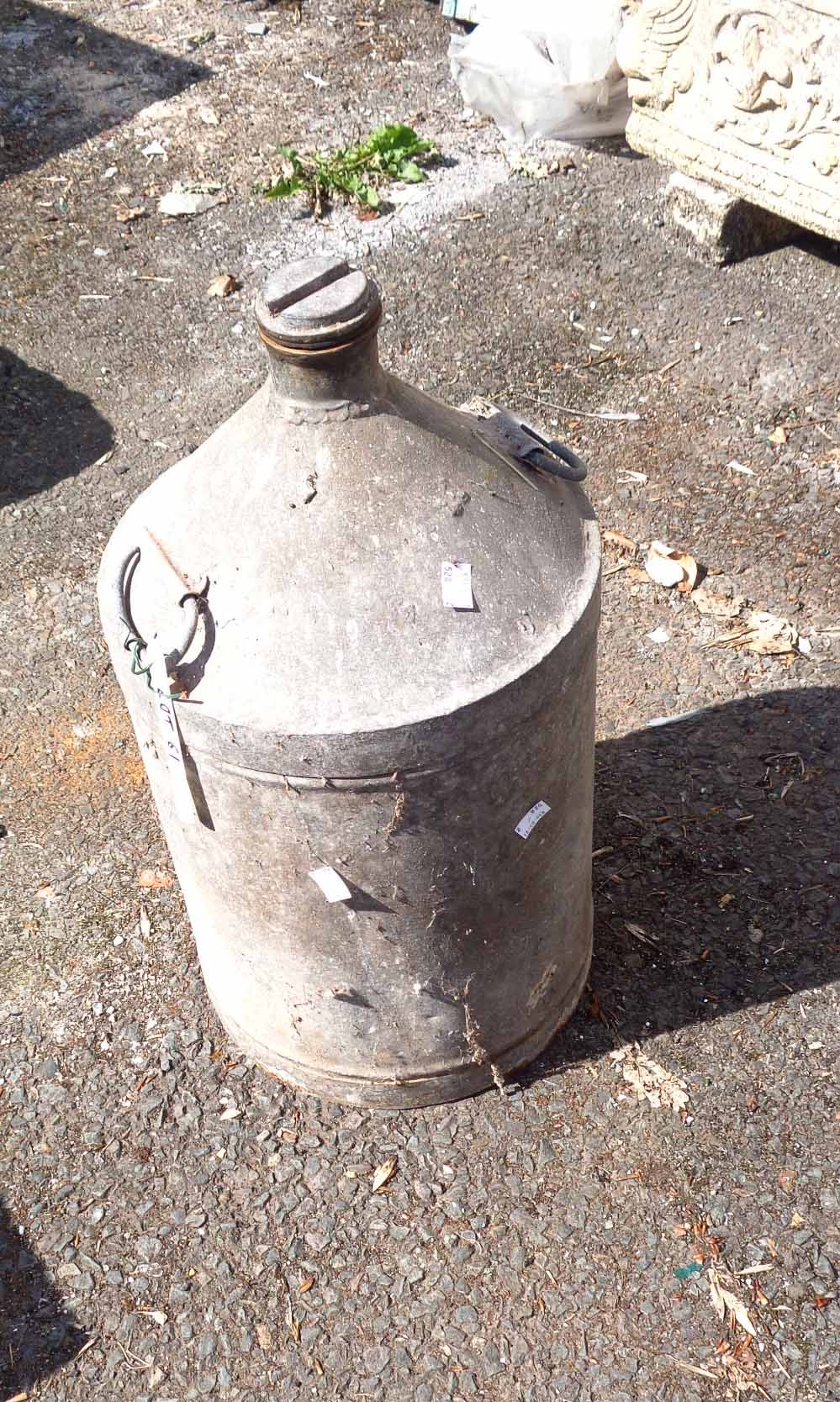 A large vintage galvanised oil can with brass screw top