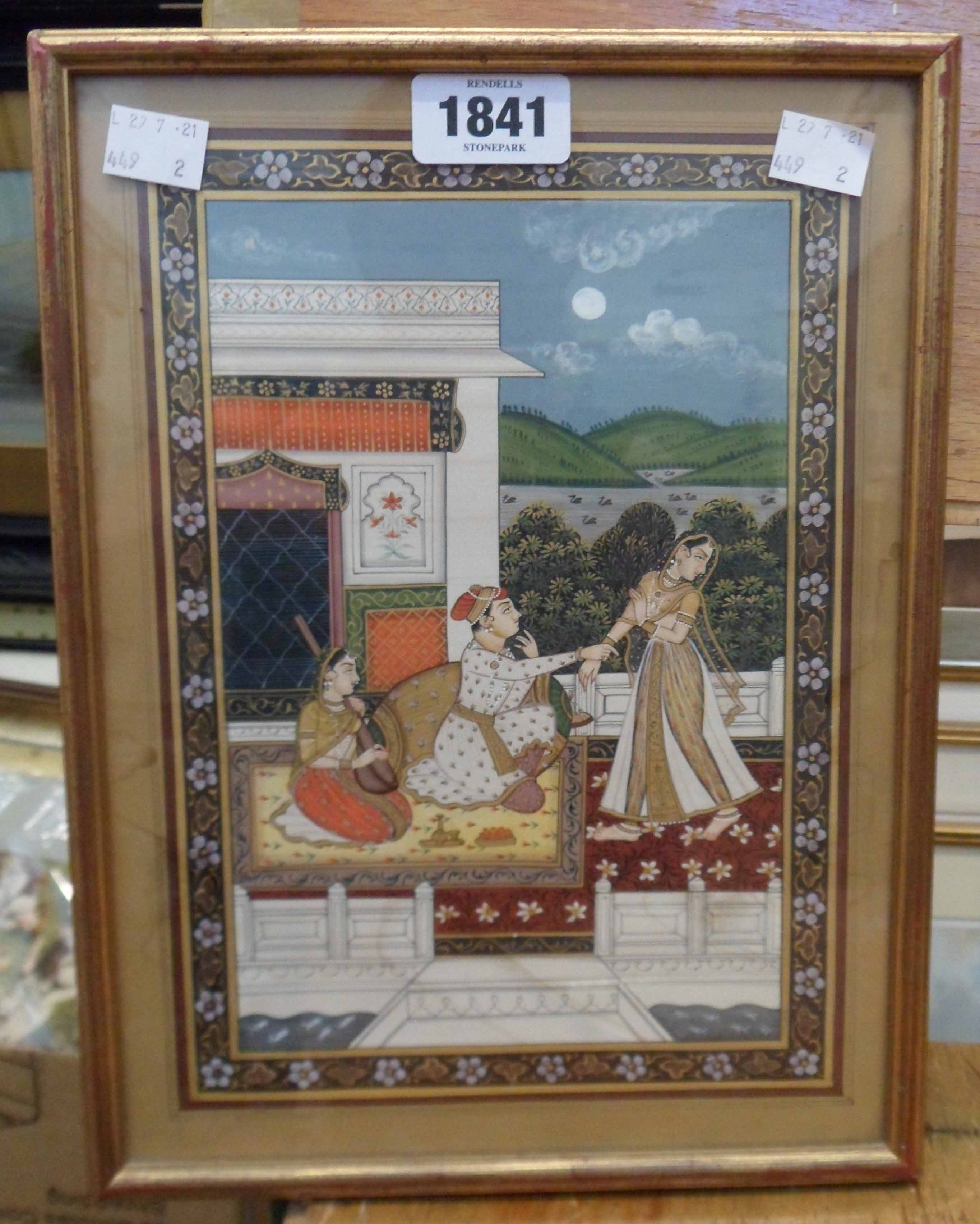 A gilt framed Mughal painting, depicting figures on a terrace with gilt detailing within a