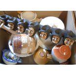 A box containing assorted ceramics including Royal Doulton stoneware, etc.