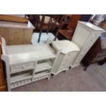Three matching items of shabby chic furniture comprising a tapered pedestal chest with flight of