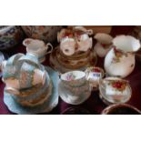 A Royal Albert Old Country Roses part tea set comprising five trios, milk and sugar, bread and