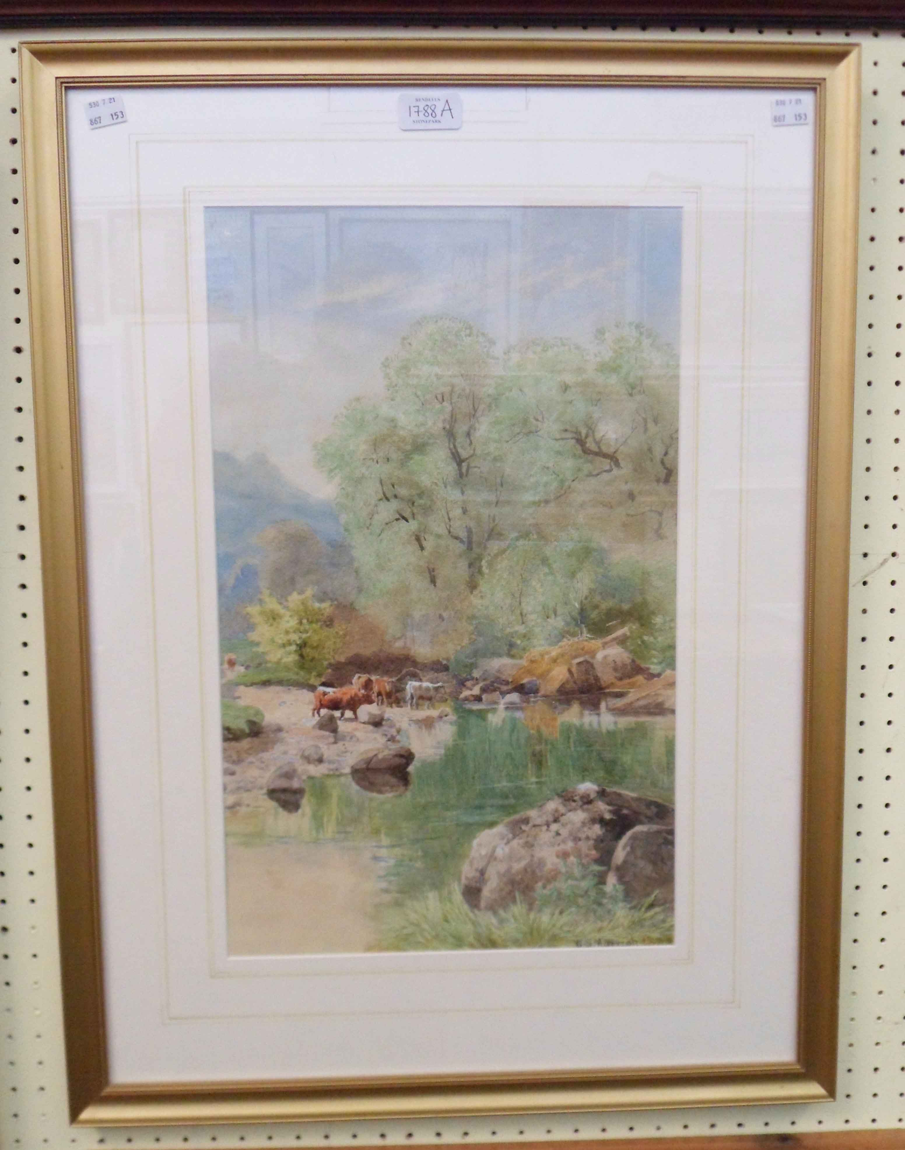 William S. Morrish: a gilt framed watercolour, depicting cattle watering by the River Dart -
