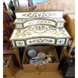 A 80cm late 20th Century painted and parcel gilt decorated desk with flanking drawers to