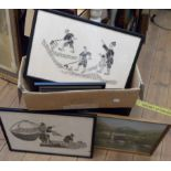 A box containing a collection of assorted pictures including monochrome Oriental subjects, also