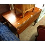 A 90cm 19th Century mahogany Pembroke table with drawer and opposing dummy drawer front, set on ring