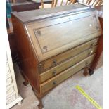 An 88cm 20th Century mahogany bureau section of a bureau/bookcase with part fitted interior