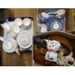 Three boxes containing assorted ceramics including part tea sets, horse figurine, etc.