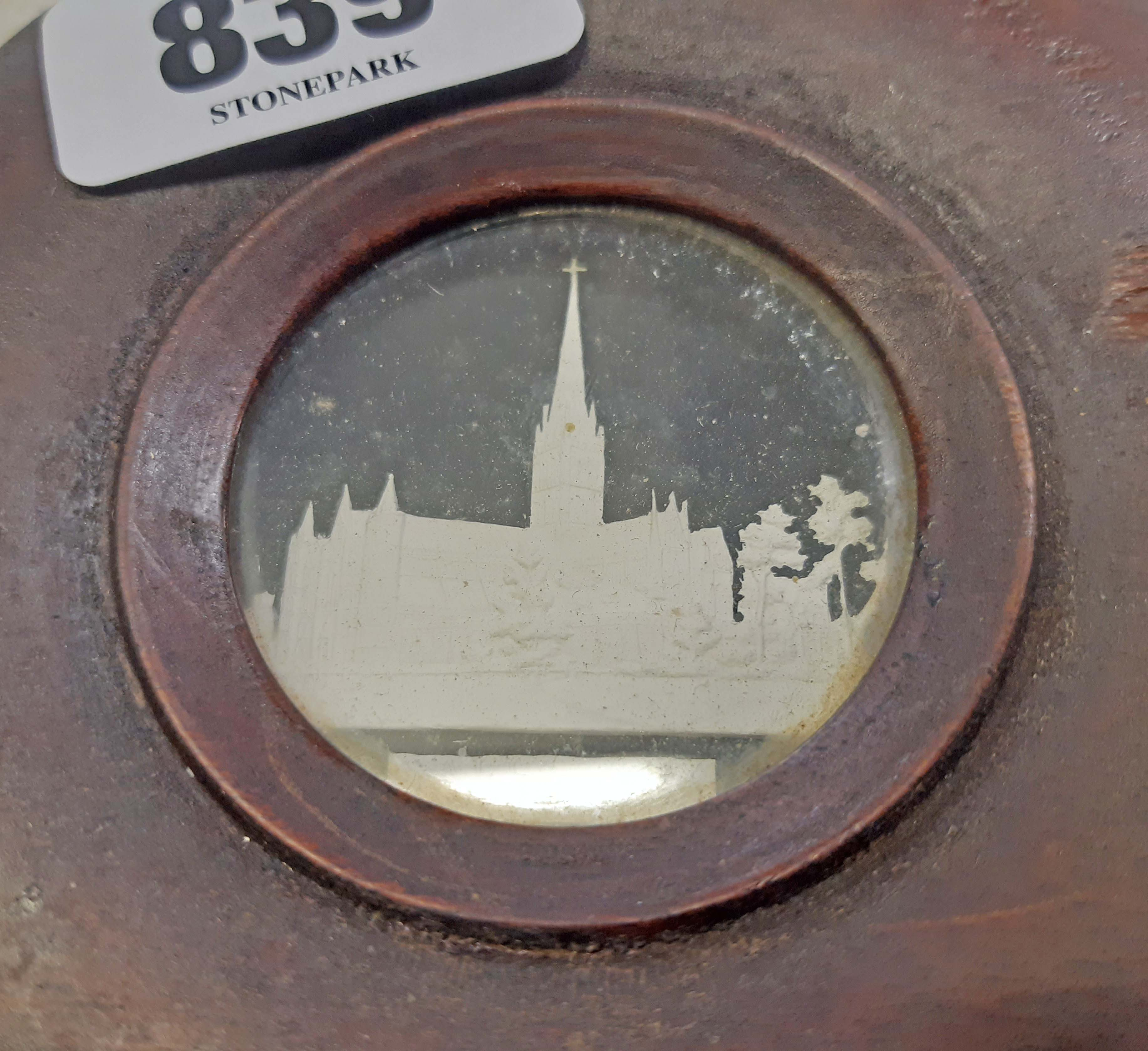 An early 19th Century plaster cameo miniature depicting Salisbury Cathedral with black ground - Image 2 of 2