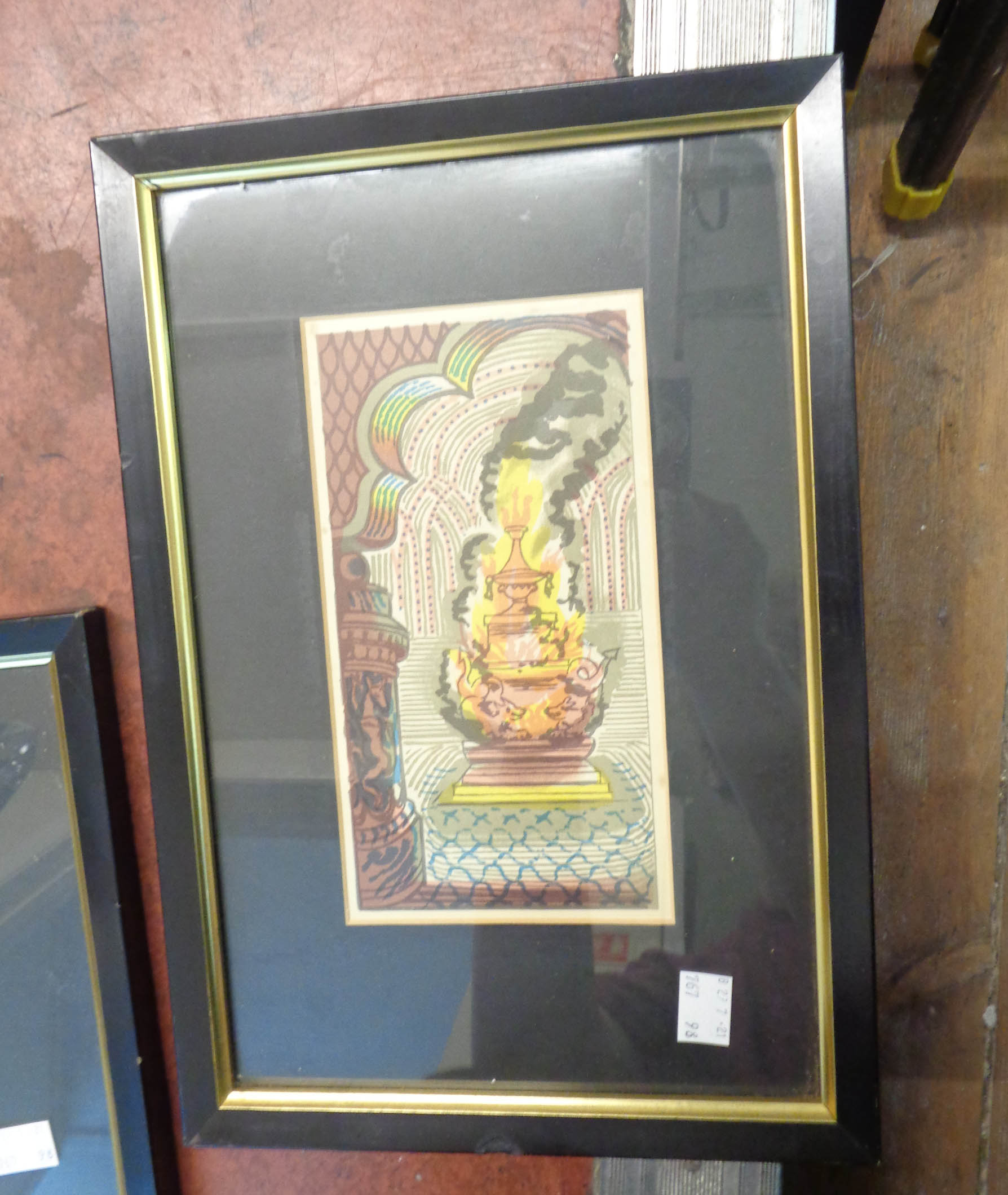 †Edward Bawden: a set of six matching framed small format coloured prints depicting classical Middle - Image 7 of 7